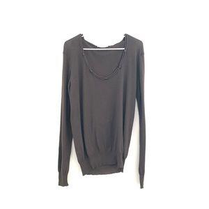 StellaMcCartney CashmereFringeBackCrewneck Sweater